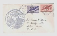 FIRST FLIGHT COVER, UNITED STATES AIRMAIL NEW YORK TO KARACHI, INDIA, MAR 7 1947