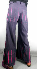 Vintage Rave Purple Ladies Flared Trouser Neon Pink Piping Size M