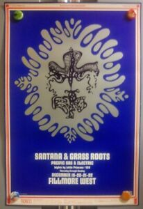 Santana GraSS ROOtS BG150 BiLL Graham FiLLmore FirSt Print PoSter