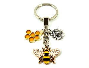Honey Bee Keyring Garden Lover Keychain Sunflower Nan Mum Mothers Day Gift