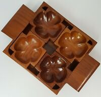 Unusual Vintage Wooden Snack Serving Tray with Four Individual Dishes