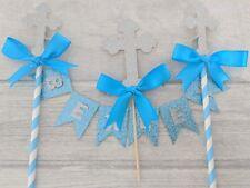 Personalised christening baptism bunting & cross cake topper blue glitter naming