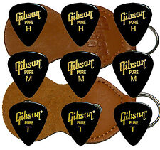 9 PÚAS GIBSON PURE  + FUNDA LLAVERO PIEL Gibson Guitar Picks + Holder