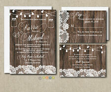 Wedding Invitation Set Rustic Lace & Lights with Envelopes 100 Sets