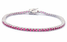 2.25Ct Simulated Ruby Tennis Bracelet .925 Sterling Silver Bracelet 7 1/4""