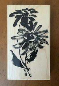 Penny Black Watercolor Brushstroke Windflower Flower Wood Mount Rubber Stamp