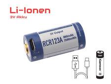 RCR123A 3V Lithium Ionen Akku (Wiederaufladbar über micro USB)