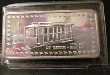 1973 SAN FRANCISCO CABLE CAR  1 oz .999 Fine Silver Art Bar  HAMILTON MINT