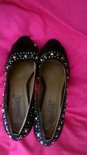 Black Faux Suede Stilletto Heel Peep toe Shoes - size 39