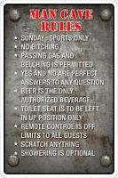 "*Aluminum* Man Cave Rules 8""x12"" Metal Novelty Sign  NS 092"