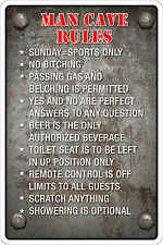 "*Aluminum* Man Cave Rules 8""x12"" Metal Novelty Sign  NS 092"