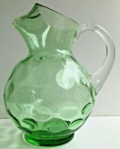 Hand Blown Art Glass Pitcher Depression Green Optic Coin Dot Clear Handle Vntg