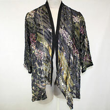 NEW NWT Citron Clothing Abstract Sketch Border Sheer Burnout Cardigan Blouse 1X