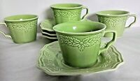 Set Of 4 - 222 Fifth Avignon Celadon Coffee Cups & Saucers Discontinued