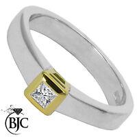Bjc 18Ct Oro Blanco Diamante 0.15ct TALLA L Anillo Solitario de Compromiso R83