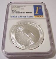Australia 2017 P 1 Ounce Silver Dollar Kangaroo MS70 NGC FDI