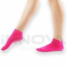 Yoga Socks Non Slip Pilates Massage 5 Toe Socks with Grip Exercise Gym Pink
