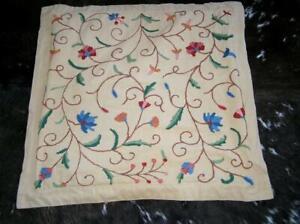 Pottery Barn Crewel Embroidered Ethnic Euro Pillow Flange Sham Bohemian