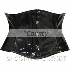 Shaper Cincher Mini Waspie Full Steel Boned Fetish Black PVC Vinyl Corset Korset