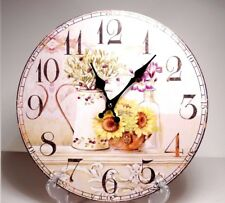 Large 33.5 cm Country Style Hanging Wall Clock  Flower  Design #2