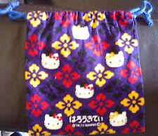 Vintage sac à cordon HELLO KITTY sanrio 20cm x 17cm noir rose et jaune