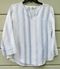 ISHYU 100% Linen Multi-Striped Popover 3/4 Sleeve Top Blouse Wms Small