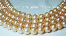 11mm pink round genuine nature freshwater pearl loose beads USA RUSSIAN BY EUB