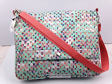 NWT FOSSIL KeyPer MESSENGER Crossbody  Mint Coral Multi Color FREE Shipping
