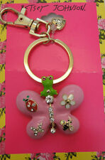 Betsey Johnson Goldtone Pink Enamel Butterfly Lady Bug Flower Bee Keychain NWT