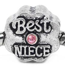 Best Niece Aunt Pink October Birthstone Bead Gift for European Charm Bracelets