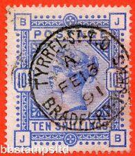 "SG. 183. K14 (2). "" JB "". 10/- ultramarine. A fine 13th February 1891 CDS"