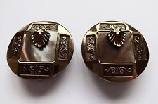 Ermani Bulatti Art Deco Gold Brown Mother Of Pearl MOP Round Clip On Earrings