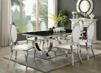 Modern 7-Piece Dining Set Rectangular Table Black Glass Stainless Steel Chrome
