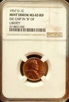 1957 D 1c  Lincoln Cent Mint Error NGC MS 65 Rd