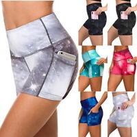 Damen High Taist Yoga Casual Bedruckte Short Gym Sporthose Hot Pants Tasche P/D