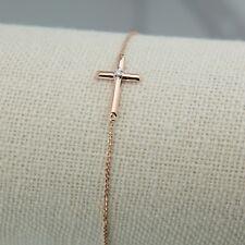Cross Bracelet with 1pc Natural Diamond in 9K Rose Gold & 9K Gold Chain