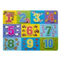 Eliiti Wooden Numbers 123 Puzzle for Toddlers 2 to 4 Years Old Boys Girls Toy