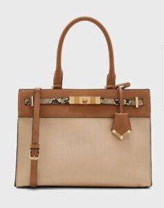 Aldo FERMES Nude & Tan Large Tote Handbag Triple compartments. Zip Closure BNWT