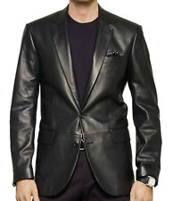 Men's Stylish Genuine Lambskin Real Leather Two Button Blazer Coat MB 24