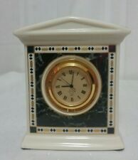 New Lenox China Forum Marble Clock Shelf Mantel Quartz Movement Made in Usa ph