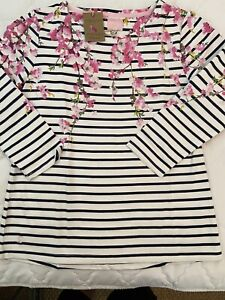 Joules-New with tag-Navy Blossom Stripe Harbour Print-size 10
