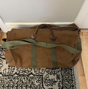 """Vintage 24"""" LL BEAN canvas leather duffel bag w/ strap - NEED ZIPPER REPAIR"""