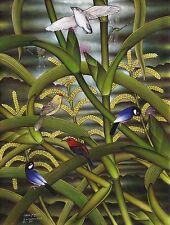 Hand painting Balinese Sparrow Birds Paddy 303