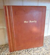 Vintage Photo Album Gold Trim Genuine Top-Grade Cowhide Leather 'Our Family'