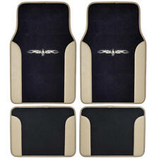Beige/ Black Car Carpet  Floor Mats Liner w/ Tattoo Design 2-Tone Color - 4pc