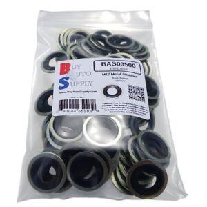 (100) M12 Metal Rubber Oil Drain Plug Gasket * Fits GM Chevrolet Dorman 097-021