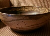 Vintage Unique Beautiful Heavy Pottery Footed Brown Glazed Stoneware Bowl