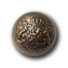 3 Bicolor Metallblech Halbkugel Knöpfe mit Wappen, Krone & Löwen (0448mk-23mm)