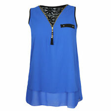 Chiffon Size Regular Sleeveless Tops & Blouses for Women