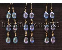 Z9685 Wholesale Black 12mm Teardrop Freshwater Pearl Dangle Earring 3Pair